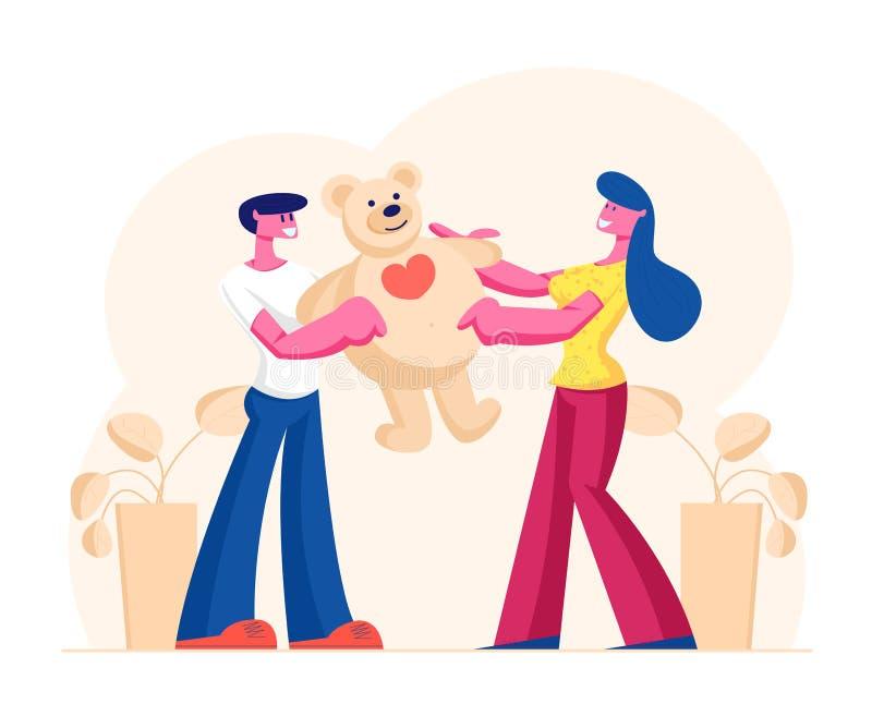 Un copain aimant présente un énorme cadeau Teddy Bear à Girlfriend le Joyeux jour de la Saint-Valentin, l'anniversaire ou toute a illustration libre de droits
