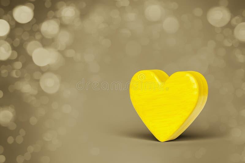 Un corazón de madera amarillo en un fondo de las luces del bokeh libre illustration