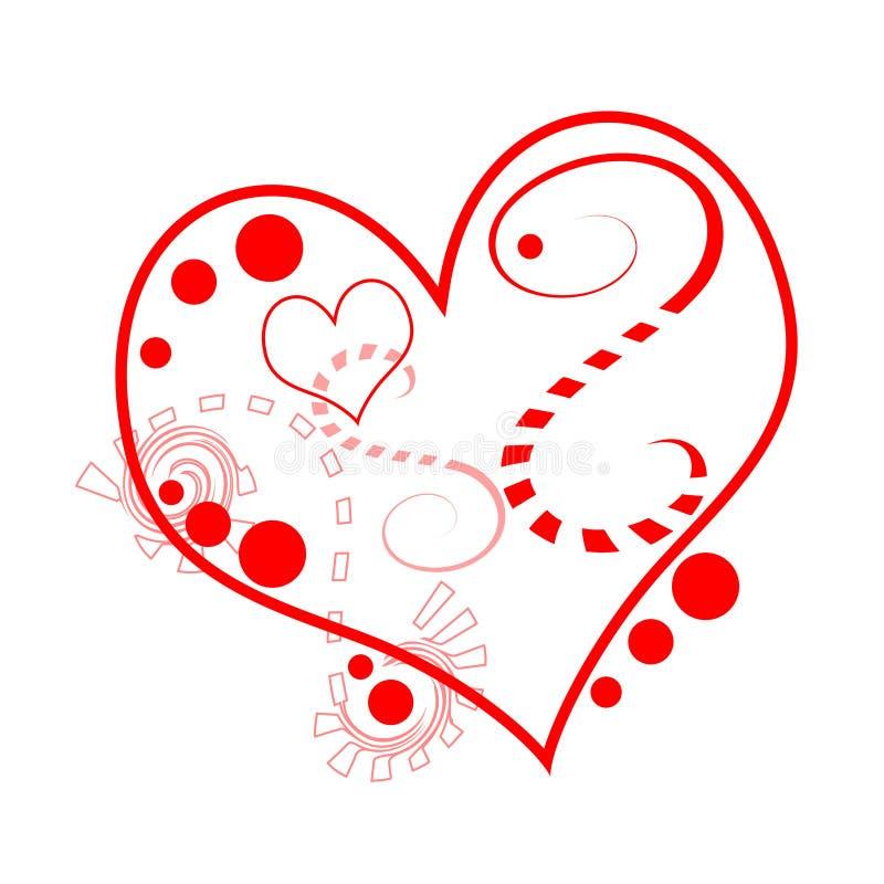 Un corazón estilizado pintado con las líneas rojas y los puntos rojos libre illustration