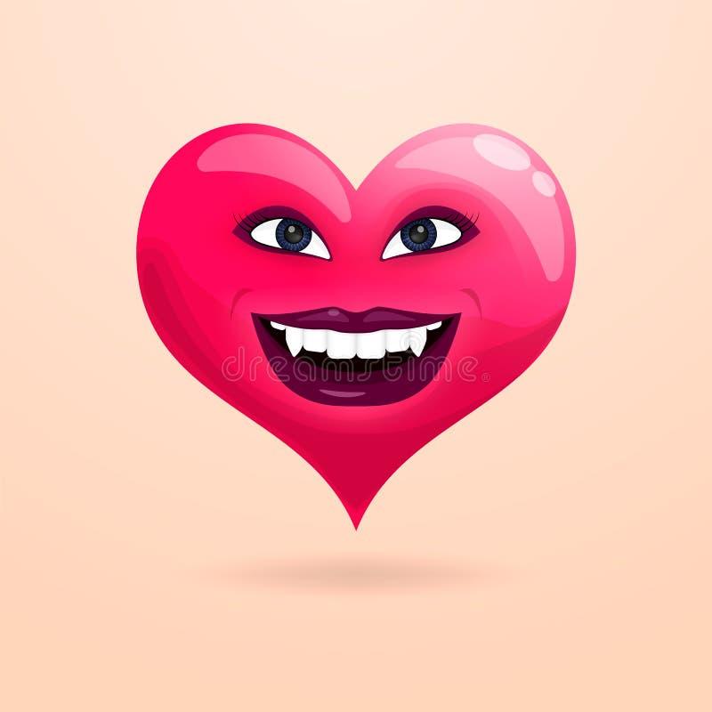 Un corazón hermoso sonríe mostrando los dientes con los colmillos libre illustration
