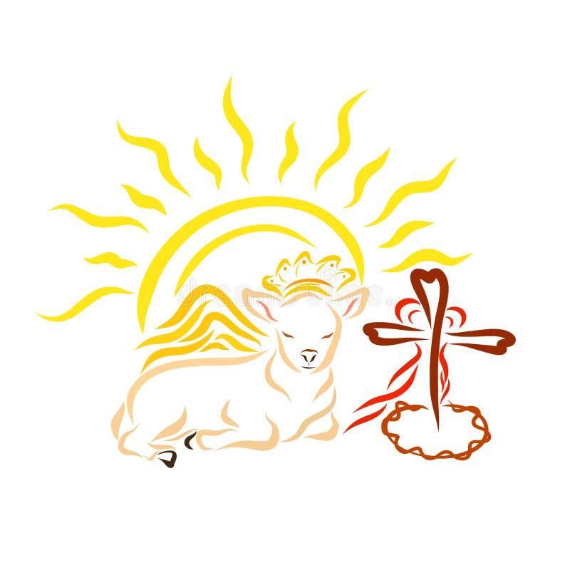 Un cordero real con las alas, una cruz con una corona de espinas y él libre illustration
