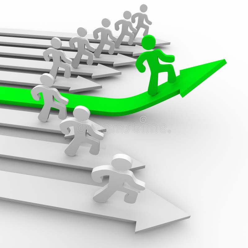 Un corridore tira avanti - la freccia verde illustrazione vettoriale