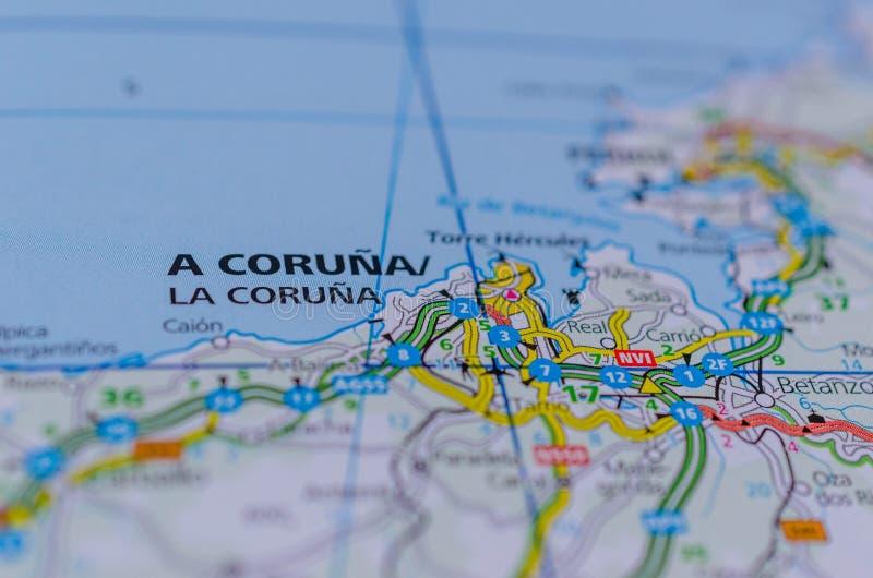 Un Coruña sur la carte photo stock