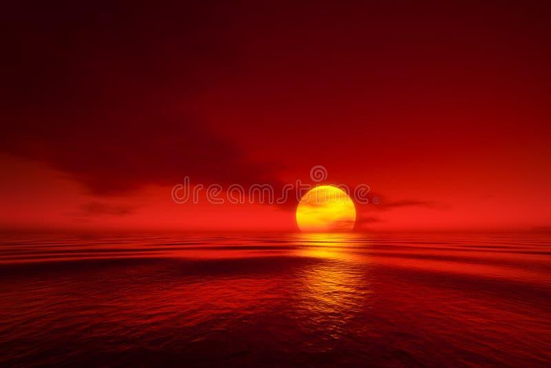 Un coucher du soleil au-dessus de la mer illustration libre de droits