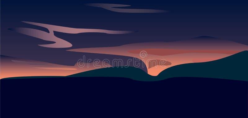 Un coucher du soleil au-dessus de vallée, art de vecteur illustration libre de droits