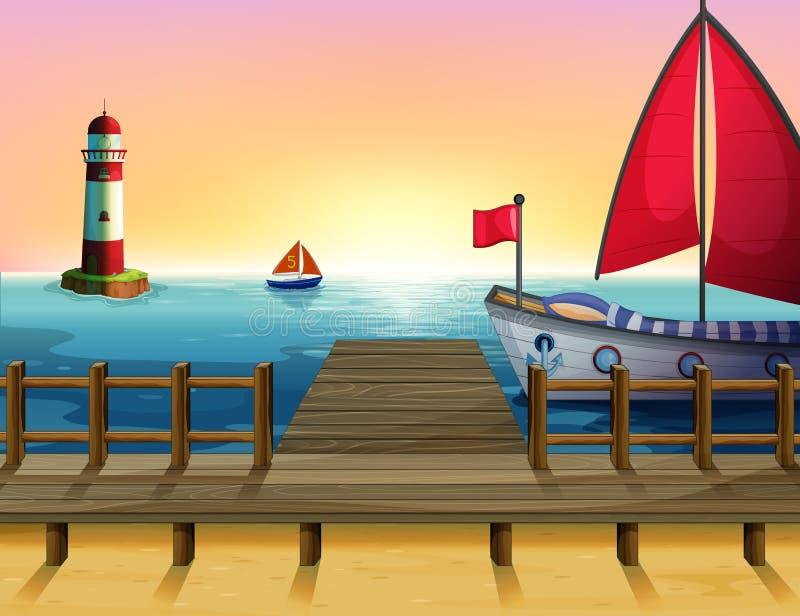 Un coucher du soleil au port illustration de vecteur