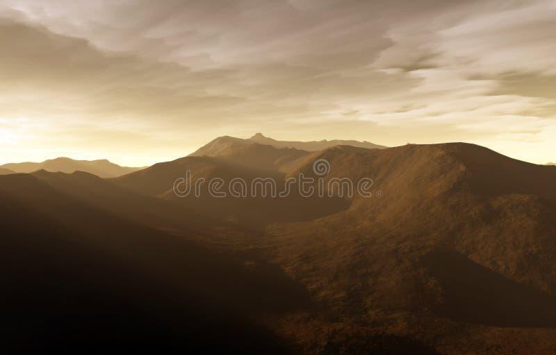 Un coucher du soleil digital illustration stock