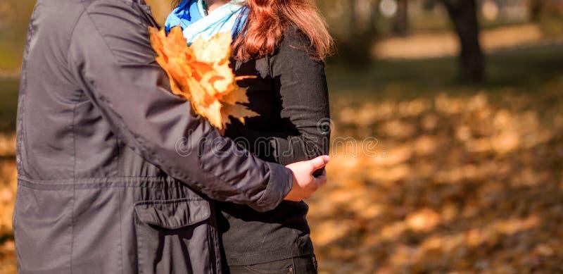 Un couple affectueux - un homme et une femme - passe le temps ensemble en parc d'automne, étreignant images libres de droits