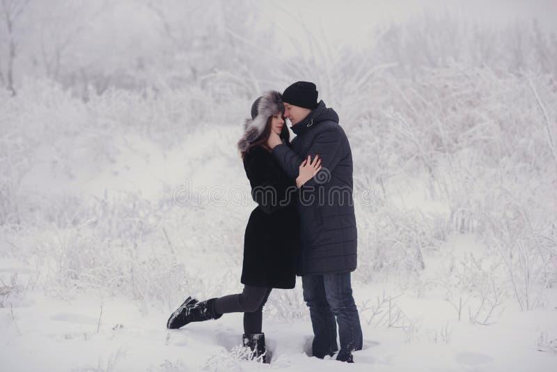Un couple affectueux sur une promenade d'hiver Histoire d'amour de neige, magie d'hiver Homme et femme sur la rue givrée Le type  photographie stock libre de droits