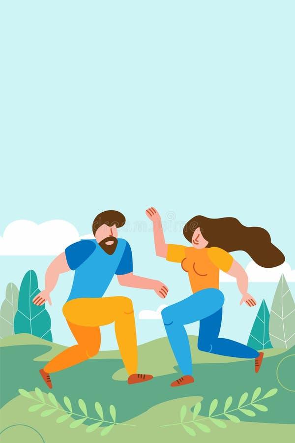 Un couple aimant danser sur un fond de paysage estival verdoyant L'espace de la corde est gratuit pour envoyer un texte d'invitat illustration libre de droits