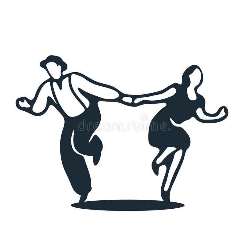 Un couple dansant l'houblon lindy illustration de vecteur