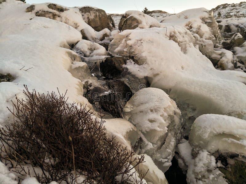 Un courant congelé, l'eau coulant entre les morceaux de la glace, jour ensoleillé en Norvège image libre de droits