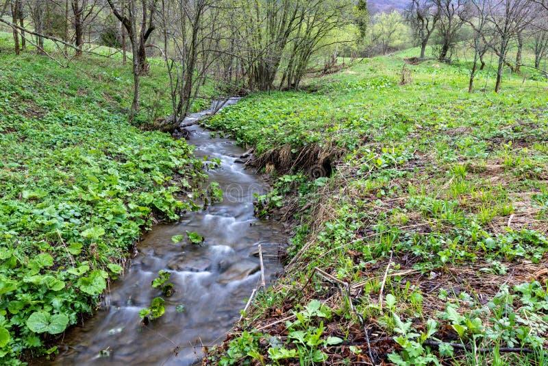 Un courant rapide dans le terrain montagneux L'eau entrant dans la rivière montrée dans une longue exposition photo stock