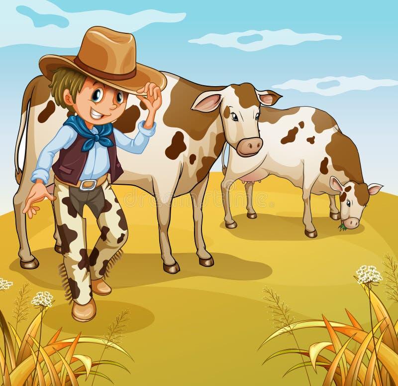 Un cowboy avec la consommation de deux vaches illustration libre de droits