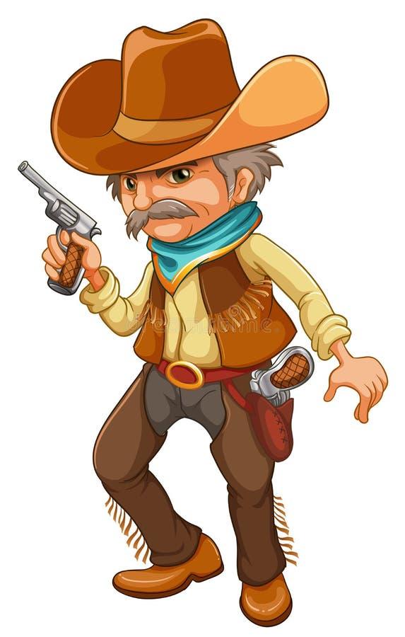 Un cowboy tenant une arme à feu illustration stock