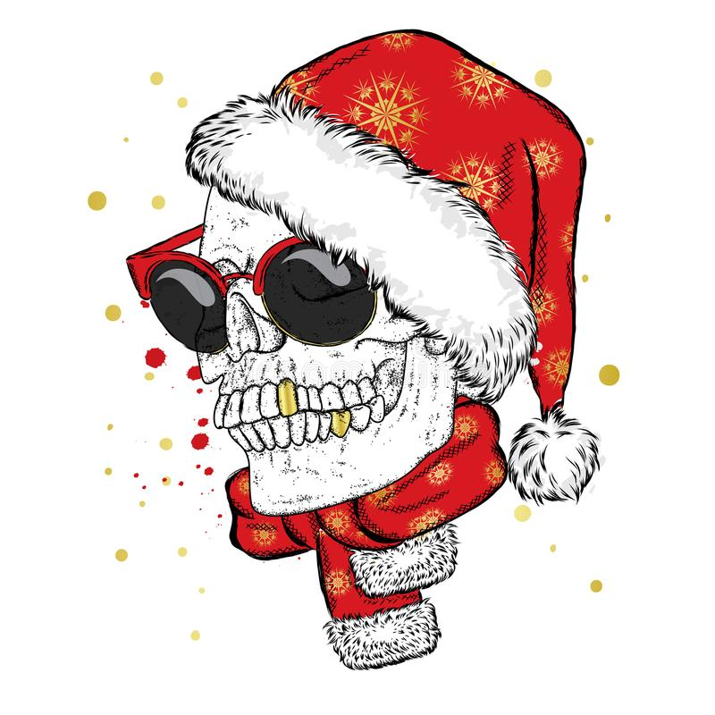 Un cráneo con vidrios, una bufanda y un sombrero de la Navidad Ilustración del vector ` S del Año Nuevo y la Navidad ilustración del vector