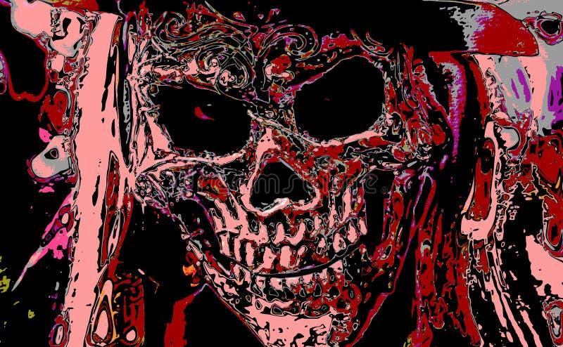 Un crâne effrayant et agité illustration stock