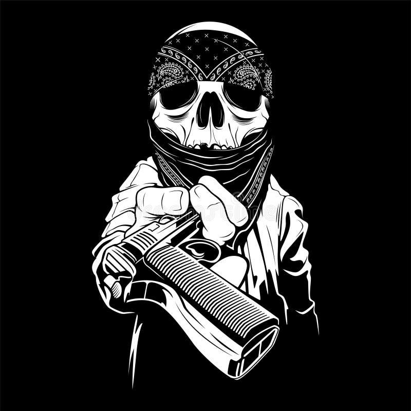 Un crâne portant un bandana remet une arme à feu, vecteur illustration stock