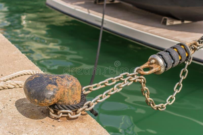 Un crampon sur le quai en détail photographie stock libre de droits