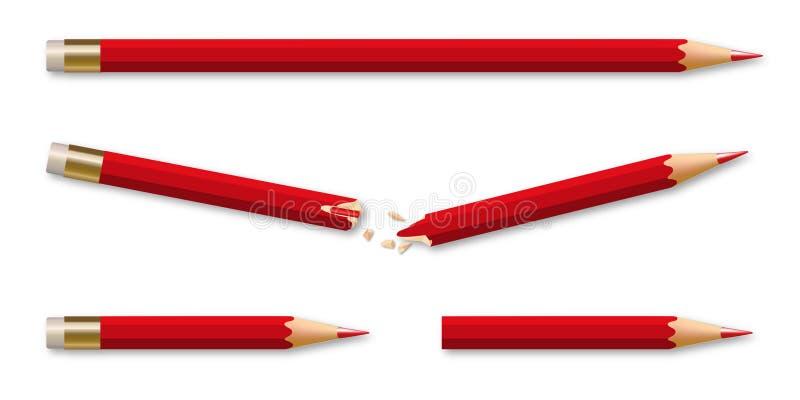 Un crayon cassé régénère dans deux nouveaux crayons illustration de vecteur