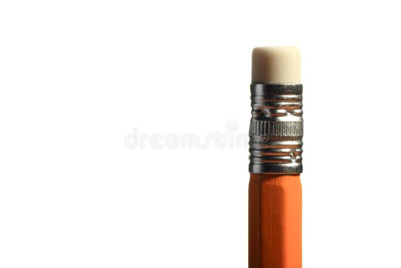 Un crayon pointu en bois avec une gomme D'isolement sur le blanc photographie stock libre de droits
