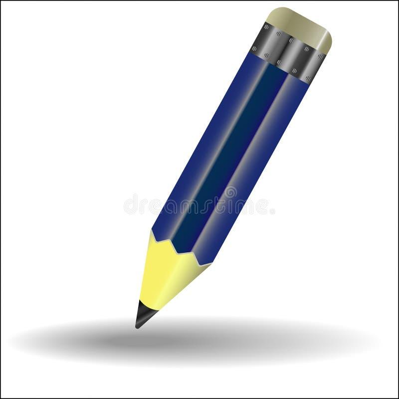 Un crayon simple avec la gomme, bleu illustration stock
