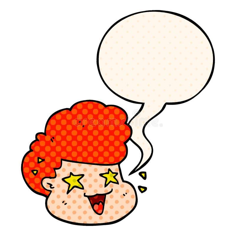 Un creativo caricaturista excitado niño y burbuja del habla al estilo de un libro de historietas libre illustration