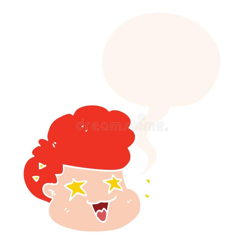 Un creativo caricaturista excitado niño y burbuja del habla al estilo retro stock de ilustración