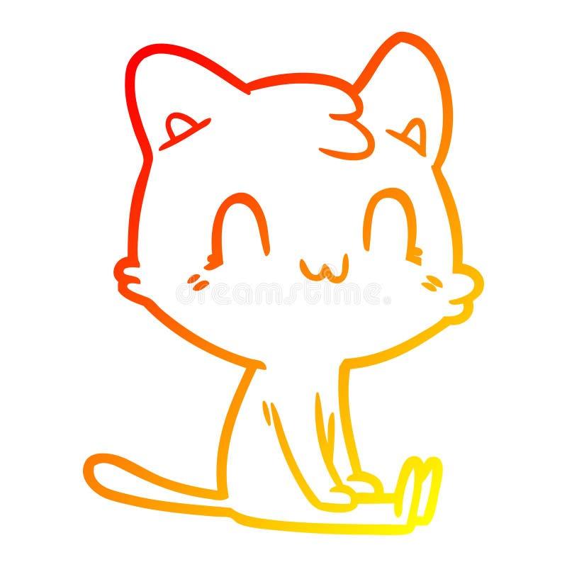 Un creativo dibujo de líneas de degradado cálido dibujo animado felino feliz stock de ilustración