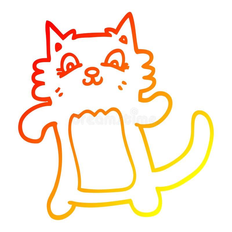 Un creativo dibujo de líneas de degradado cálido dibujo animado felino feliz ilustración del vector