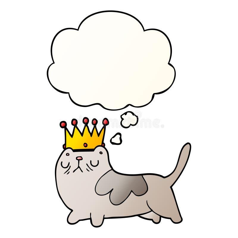 Un creativo gato arrogante de dibujos animados y una burbuja de pensamientos en un estilo de gradiente suave stock de ilustración