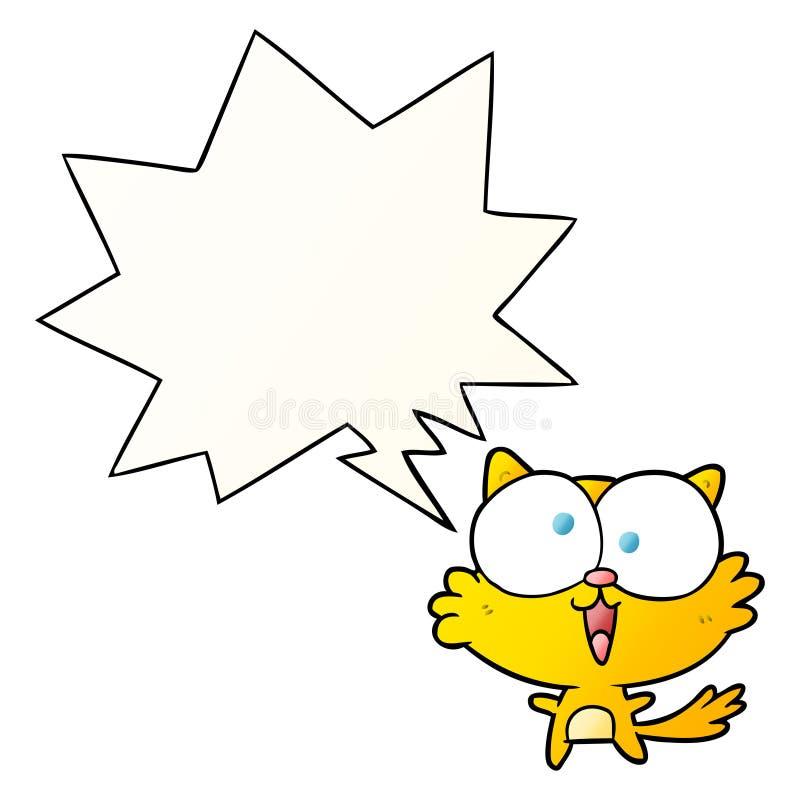 Un creativo y lindo dibujo animado loco gato y burbuja de habla en un estilo de gradiente suave libre illustration