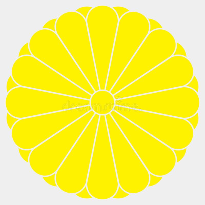 Un crisantemo giallo di sedici petali su fondo bianco La stemma della famiglia imperiale Simbolo informale del Giappone royalty illustrazione gratis
