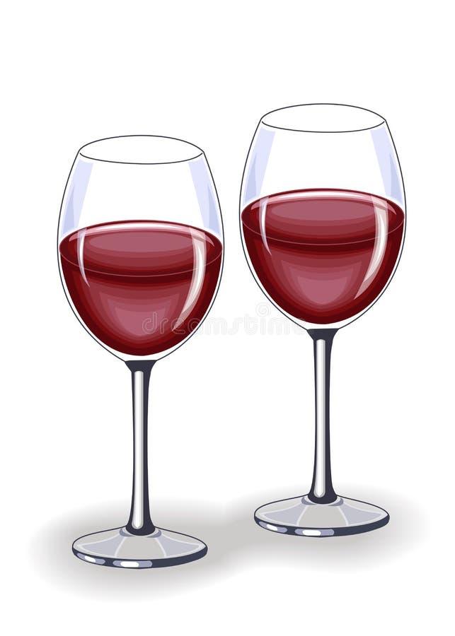 Un cristal hermoso con el vino tinto delicioso Decoraci?n de la tabla festiva Ilustraci?n del vector stock de ilustración