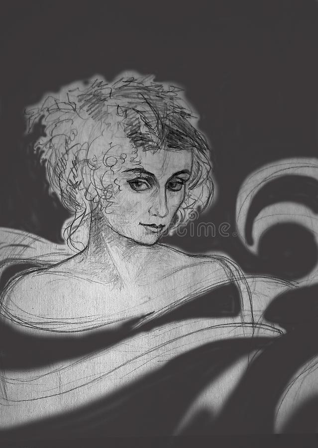 Un croquis approximatif de crayon d'une femme sur un fond gris avec des taches illustration libre de droits