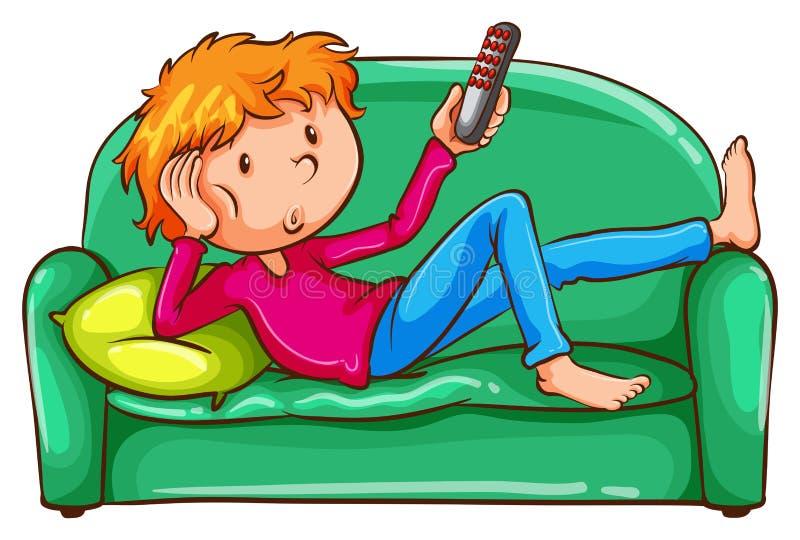 Un croquis coloré d'un garçon paresseux illustration de vecteur