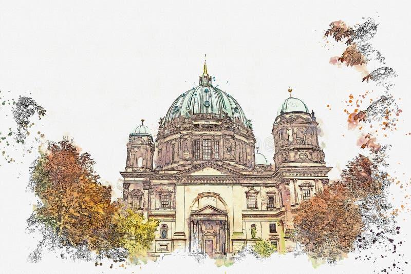 Un croquis d'aquarelle ou une illustration de Berlin Cathedral a appelé les DOM de Berliner Berlin, Allemagne illustration stock