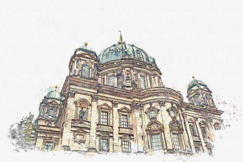 Un croquis d'aquarelle ou une illustration de Berlin Cathedral a appelé les DOM de Berliner Berlin, Allemagne illustration de vecteur