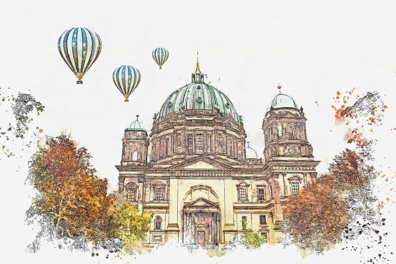 Un croquis d'aquarelle ou une illustration de Berlin Cathedral a appelé les DOM de Berliner Berlin, Allemagne illustration libre de droits