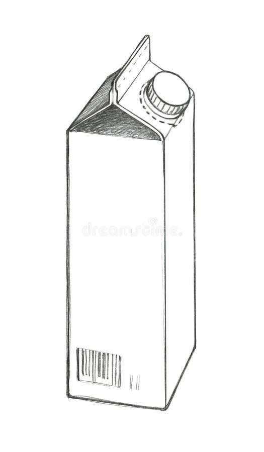 Un croquis d'un sac de papier de empaquetage pour le liquide avec un couvercle Dessin au crayon illustration libre de droits