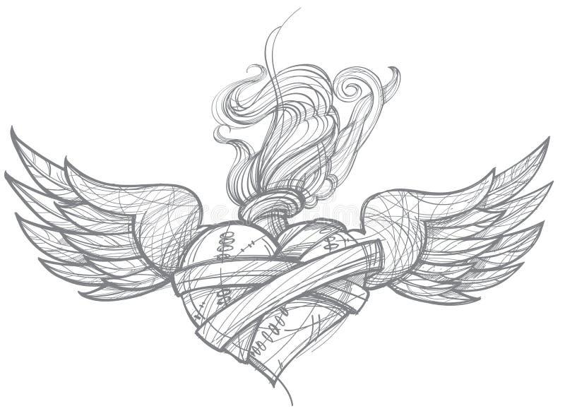 Un croquis d'un tatouage Coeur avec des ailes et des fleurs dessin pour la coloration illustration stock