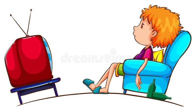 Un croquis d'un garçon paresseux regardant la TV illustration libre de droits