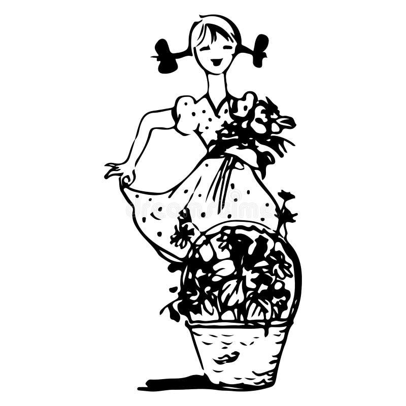 Un croquis d'une fille avec des tresses dans une robe tient des fleurs dans des ses mains, et est après un panier des fleurs, sur illustration libre de droits
