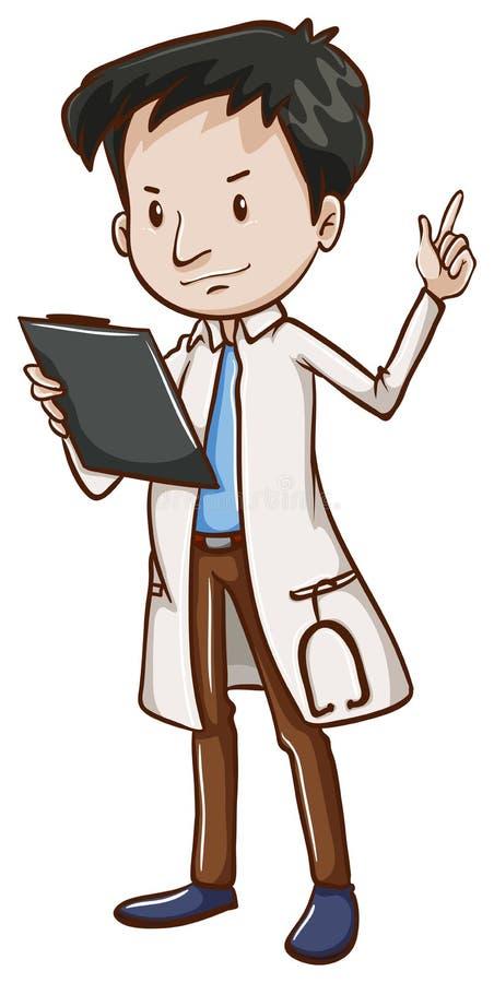 Un croquis simple d'un docteur masculin illustration de vecteur