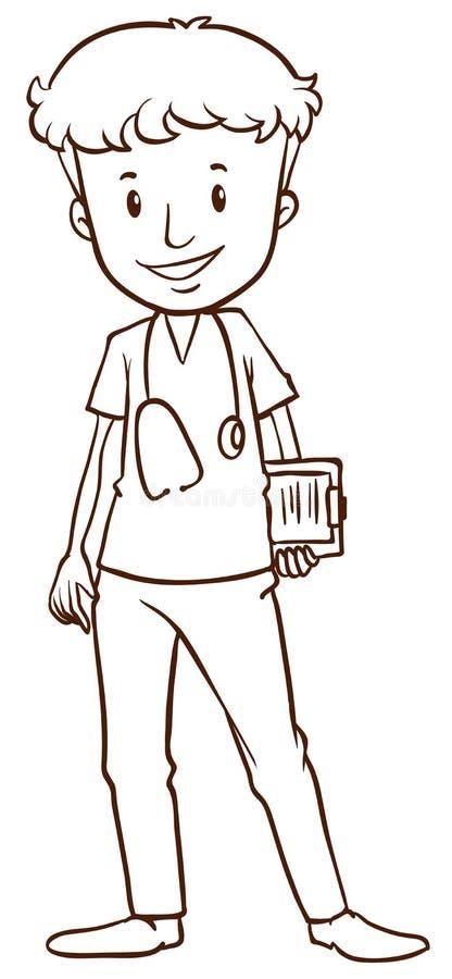 Un croquis simple d'un docteur masculin illustration libre de droits