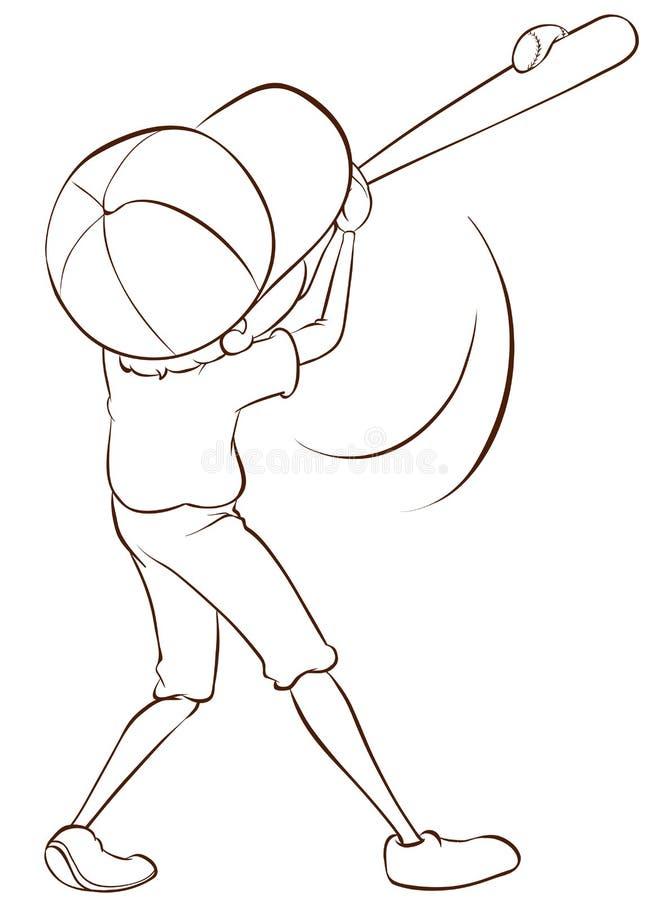 Un croquis simple d'un joueur de baseball masculin illustration de vecteur