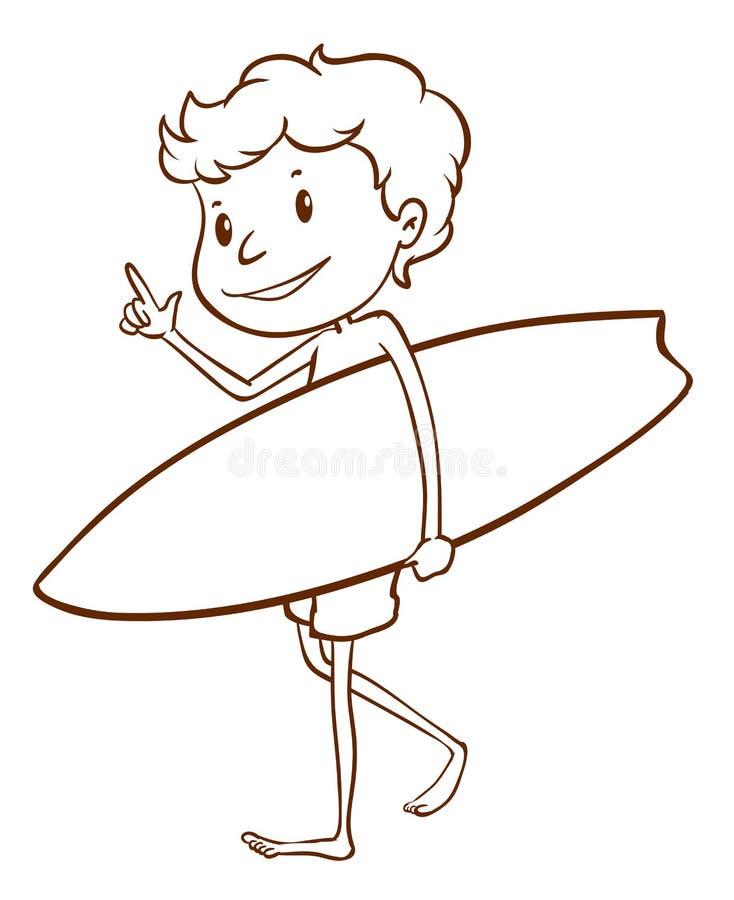 Un croquis simple d'un surfer masculin illustration stock