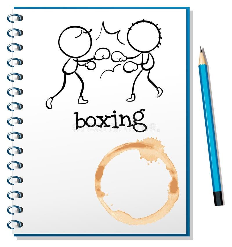 Un cuaderno con dos boxeadores en la página de cubierta stock de ilustración