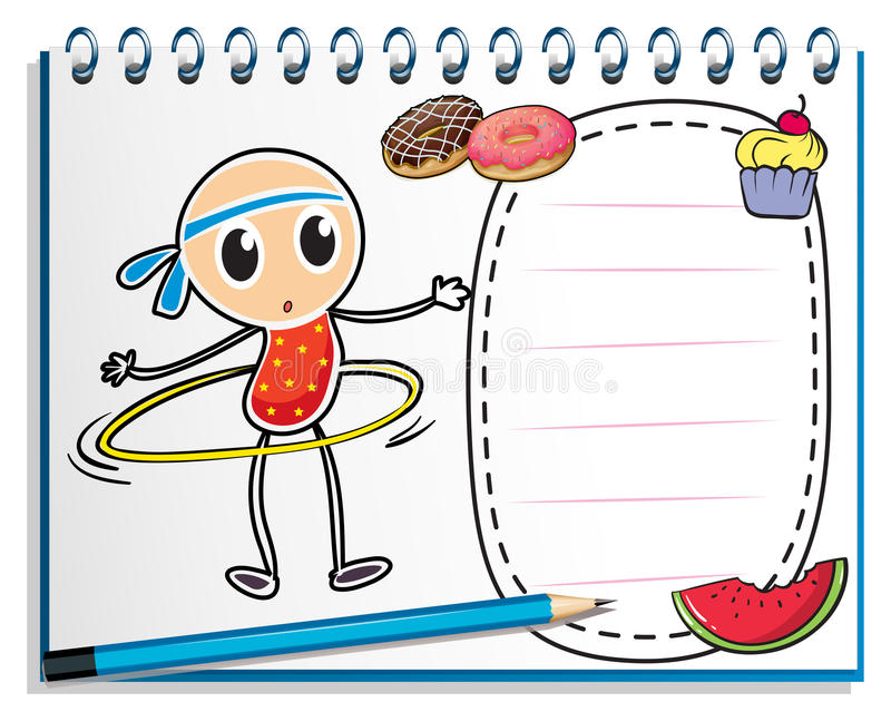 Un cuaderno con un bosquejo de un niño joven con un aro del hula libre illustration
