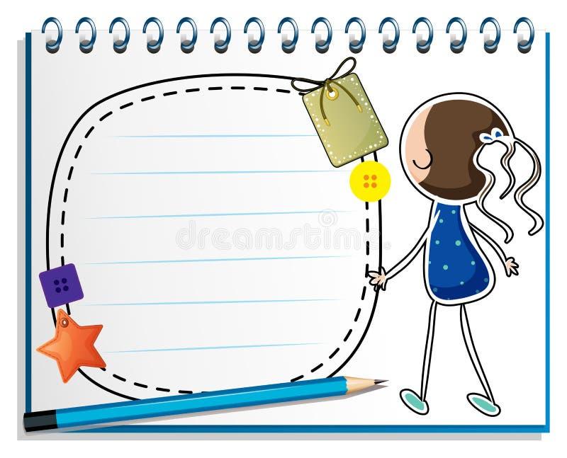 Un cuaderno con un bosquejo de una muchacha en un vestido azul ilustración del vector